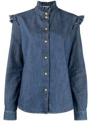 Philosophy ruffled-detail denim shirt