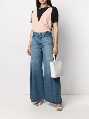 MM6 stonewashed wide-leg jeans