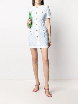 Balmain gingham button-embellished dress