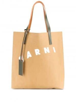 Marni logo-print tote bag