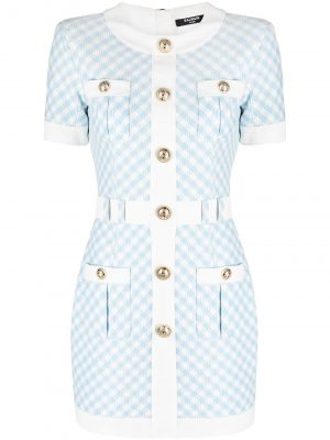 Balmain gingham button-embellished dress