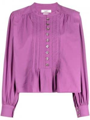 Isabel Marant Etoile pintuck cotton blouse