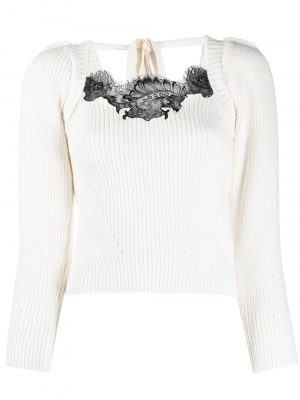 Self Portrait lace-embellished ribbed jumper