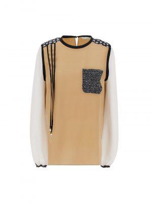 Maxmara 21SS 1111021206014 OSCURI Printed silk shirt Camel/white
