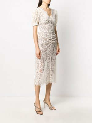 Self Portrait 21SS AW20035 Camel fine corded lace midi dress
