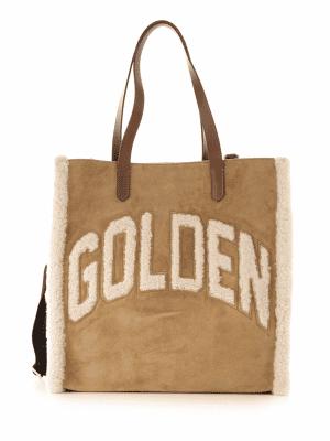 Golden Goose textured fleece logo tote bag