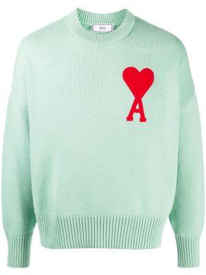 AMI PARIS 21SS E21HK009.016303 Oversize Ami de Coeur Sweater Green aqua