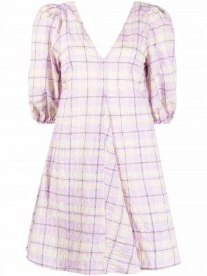 GANNI check-print flared dress