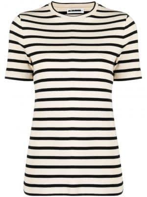 Jil Sander ribbed stripe poplin T-shirt