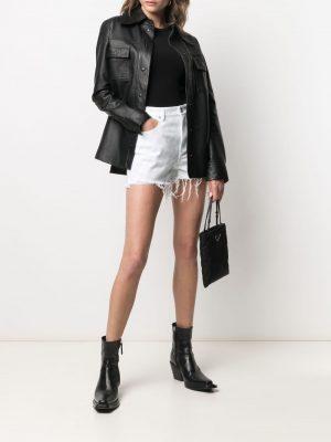 Alexander Wang denim faded-check shorts