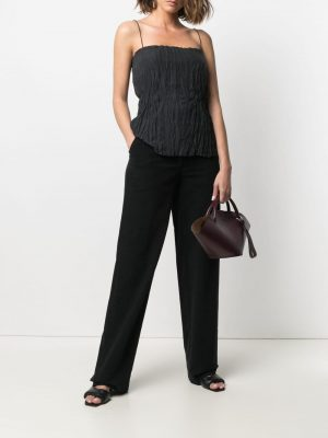 Toteme crinkled-finish silk top
