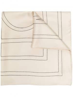Toteme embroidered-monogram silk scarf