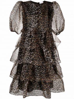 Ganni puff-sleeves tiered leopard dress