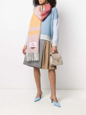 Marni textured striped scarf pink/yellow