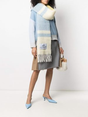 Marni textured striped scarf yellow/blue