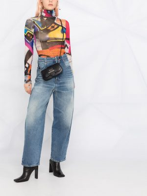 MM6 high rise tapered vintage washed-blue jeans