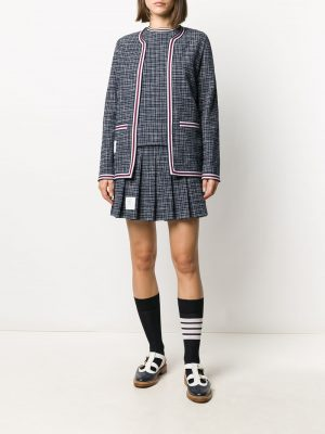 Thom Browne hairline-check pleated skirt