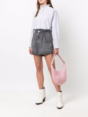 Isabel Marant Etoile paperbag waist denim-effect shorts