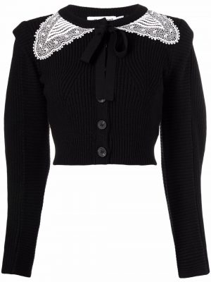 Self-portrait lace-collar ribbed-knit cardigan