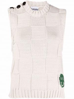 Ganni smiley face V-neck sweater vest