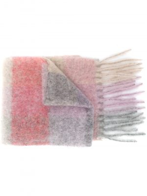 Acne Studios multi-check fringed scarf