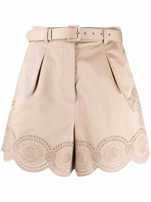 Self-portrait embroidered belted shorts