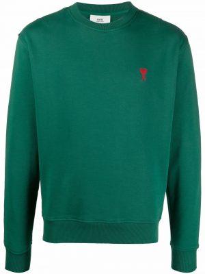 AMI PARIS Ami de Coeur cotton sweatshirt green