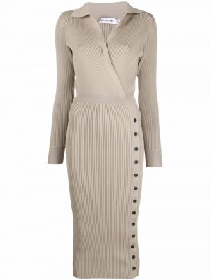 Self-Portrait ribbed-knit buttoned dress