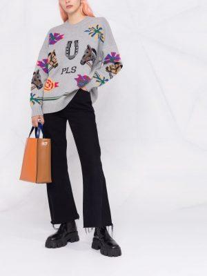 Philosophy intarsia-knit patterned jumper