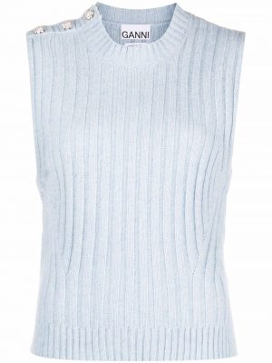 GANNI ribbed-knit top