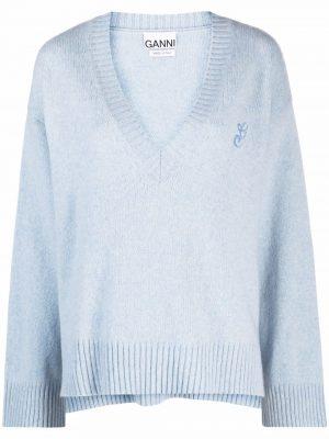 GANNI embroidered logo V-neck jumper