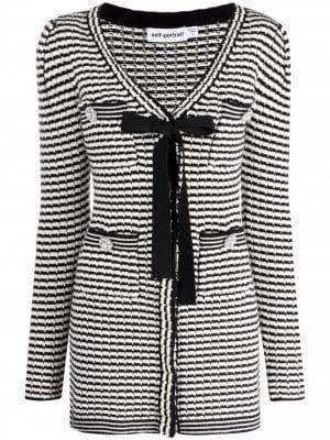 Self portrait stripe-detail knitted dress