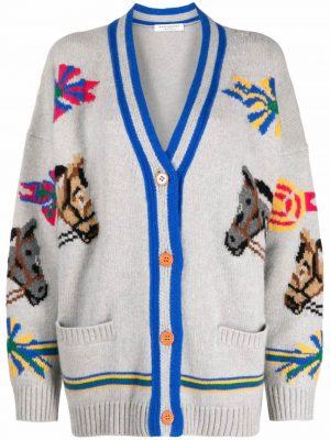 Philosophy intarsia horse-knit cardigan