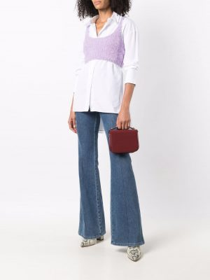 Self Portrait knitted U-neck cropped top