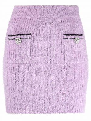 Self Portrait 21PF AW21-072 Fluffy Knit Skirt Purple