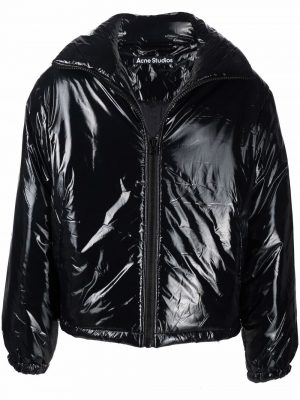 Acne Studios logo-patch zip-up padded jacket black