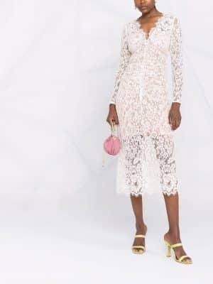 Self Portrait semi-sheer lace midi dress
