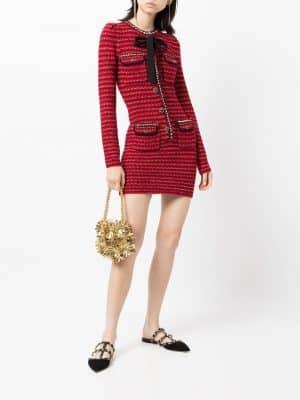 Self Portrait mélange knit mini dress