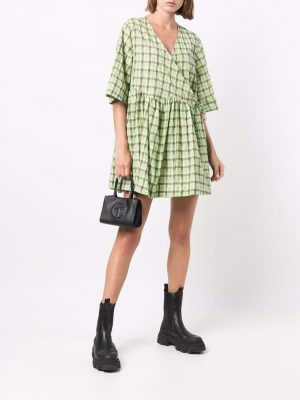 GANNI puff-sleeves tiered leopard midi dress