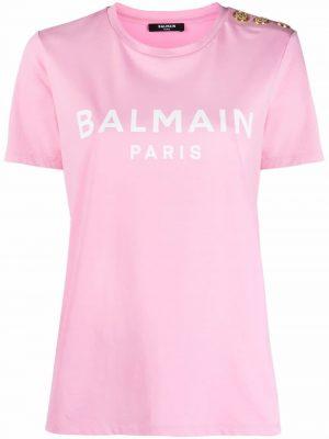Balmain button-detail logo print T-shirt