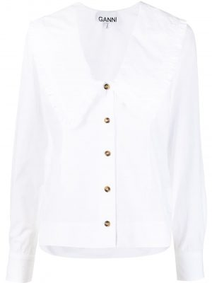GANNI ruffled exaggerated collar blouse
