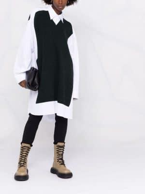 Maison Margiela oversized jumper-panel shirt dress
