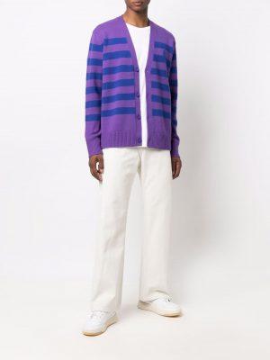 Acne Studios Face V-neck striped cardigan