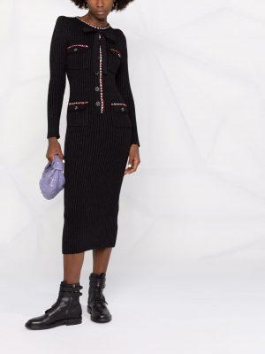Self Portrait contrast-trim knitted dress