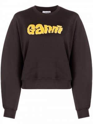 GANNI logo-print sweatshirt