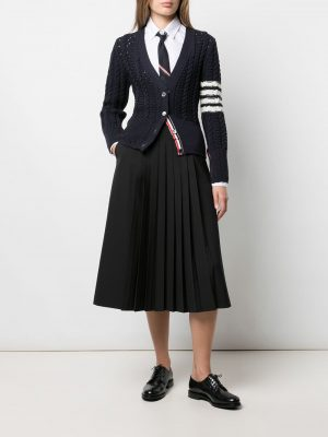 Thom Browne cable-knit four-stripe cardigan