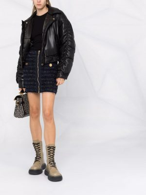 Balmain zipped tweed skirt navy