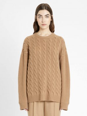Maxmara 21FW 1366051306002 CANNES Wool and cashmere knit jumper Camel
