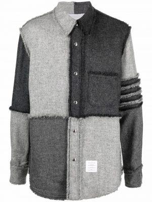Thom Browne 4-Bar patchwork shirt jacket