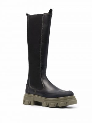 GANNI 21FW S1626 Leather Knee-High Chelsea Boots Black/Green